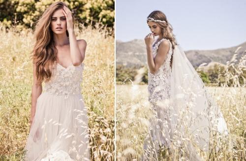 Váy cưới boho rất thích hợp cho tiệc cưới ngoài trời.