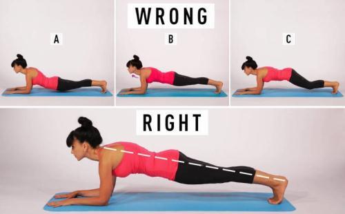 Các tư thế A, B, C đều sai. Tư thế dưới cùng mới là plank chuẩn.