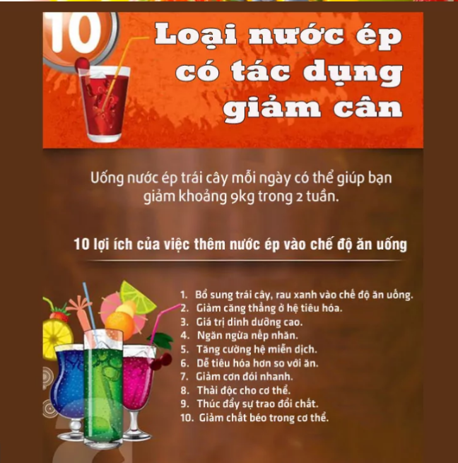 10 loai nuoc ep co tac dung giam can va an toan cho ban